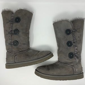 UGG Bailey Button Tall Gray Boots Shearling Suede